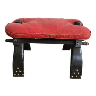 Egyptian Leather Vintage Camel Saddle, Bench or Stool