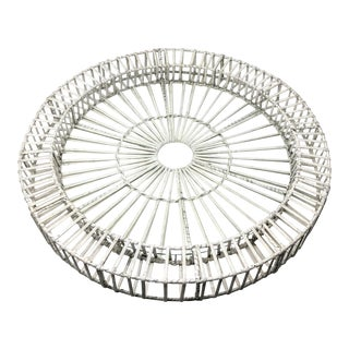 White Washed Rattan Oversized Tray With Glass Insert For Sale