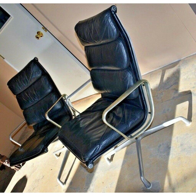 Mid Century Eames Herman Miller Lounge Chairs Black Leather- A Pair For Sale - Image 12 of 13