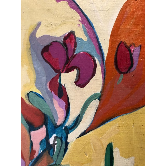 1969 Floral Painting Mid Century Still Life Ny Artist For Sale - Image 4 of 8