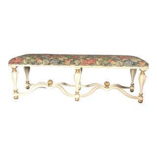 Decorative Accents Antiqued White Goldleaf Accent Pavia Bench For Sale