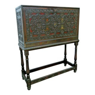 Early 1900s Heavy Carved Lion Hand Painted Secretary Desk Cabinet For Sale