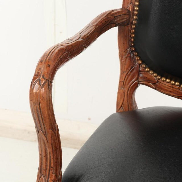 Animal Skin Vintage Mid Century Hand-Carved Italian Carved Wood Leather Bound Armchairs- A Pair For Sale - Image 7 of 13