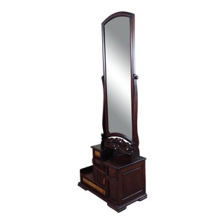 Japanese 1920s Antique Rosewood Kyodai Vanity Mirror For Sale