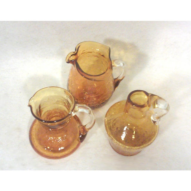 Blenko Mid-Century Gold Crackle Vases - Set of 3 For Sale - Image 5 of 5