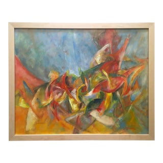 Vintage Mid Century Modernist L. Mossberg Framed Original Abstract Expressionist Oil Painting on Canvas For Sale