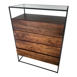 Mid-Century Modern Four Drawer Dresser With Glasstop For Sale