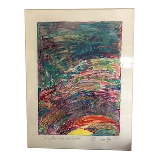 1980s Susan Moss Out of Phase Garden With Red Pond Oil on Paper Painting For Sale