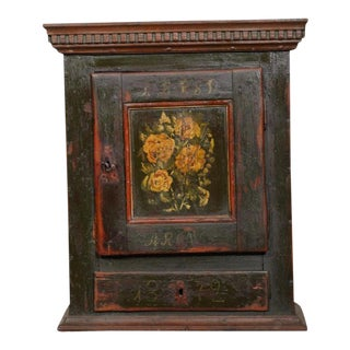 19th Century Danish Painted Wall Cabinet For Sale