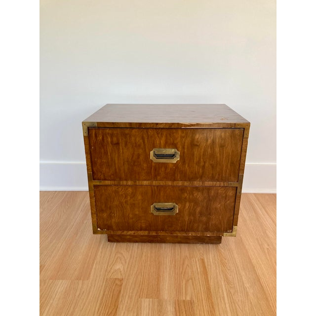 Dixie Campaigner 2 drawer nightstand with brass inset drawer pulls and corners. Solid construction with dovetail joints....