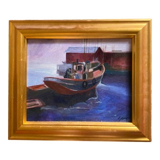 1990s Fishing Boat and Harbor Scene Oil Painting, Framed For Sale