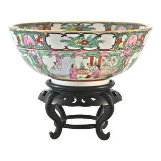 Pink Famille Rose Bowl & Stand For Sale
