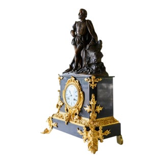 19th Century Luís de Camões Bronze and Marble Clock For Sale