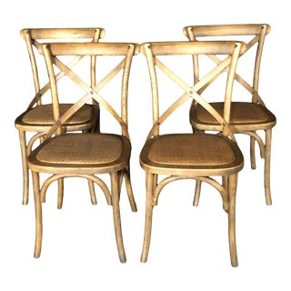 Classic French Bentwood Bistro Chairs With Woven Seats -Set of 4 For Sale