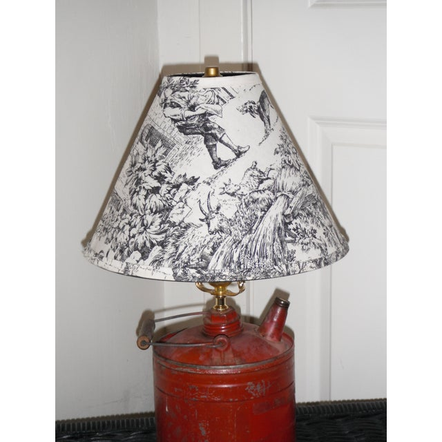 Vintage Gas Can Table Lamp and Shade - Image 5 of 5