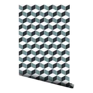Blue Hexagon Tile Pre-Pasted Wallpaper
