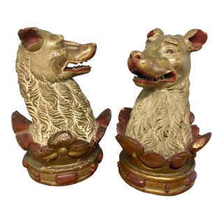 18th Century Figurative Carved Painted Wood Wolf Sculptures - a Pair For Sale