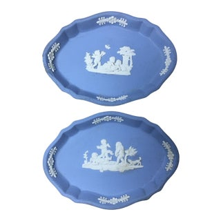 Vintage Blue Wedgwood Dish Pin Trays - Set of 2 For Sale