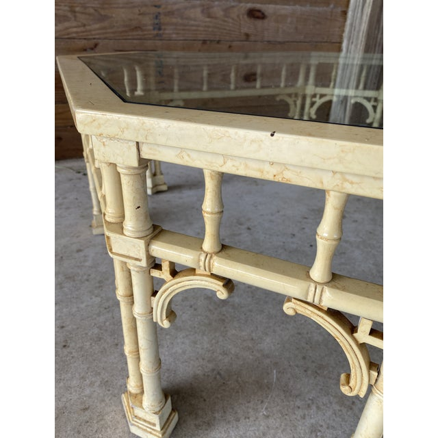 Vintage Faux Bamboo Fretwork Coffee Table For Sale - Image 9 of 13