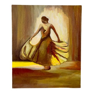 Vintage Female Dancer Portrait Oil on Canvas Painting For Sale