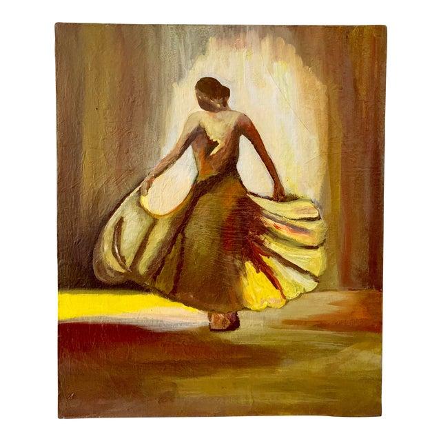 Vintage Female Dancer Portrait Oil on Canvas Painting For Sale