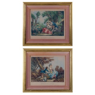 """Autumn"" and ""Spring"" Pastoral Prints by Daulle After François Boucher - a Pair"