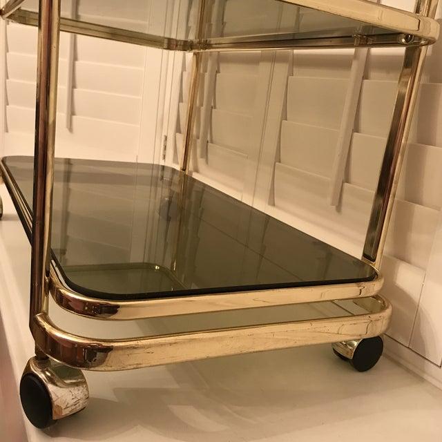 Mid-Century Brass & Smoke Glass Bar Cart - Image 7 of 10