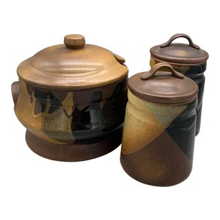 Pottery Craft's Plaid Stoneware Soup Tureen and Kitchen Canisters For Sale