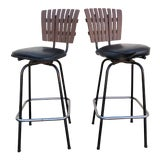 Image of Black Swivel Bar Stools With Faux Wood Seat Backs - A Pair For Sale