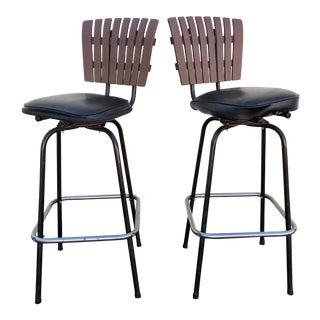 Black Swivel Bar Stools With Faux Wood Seat Backs - A Pair For Sale