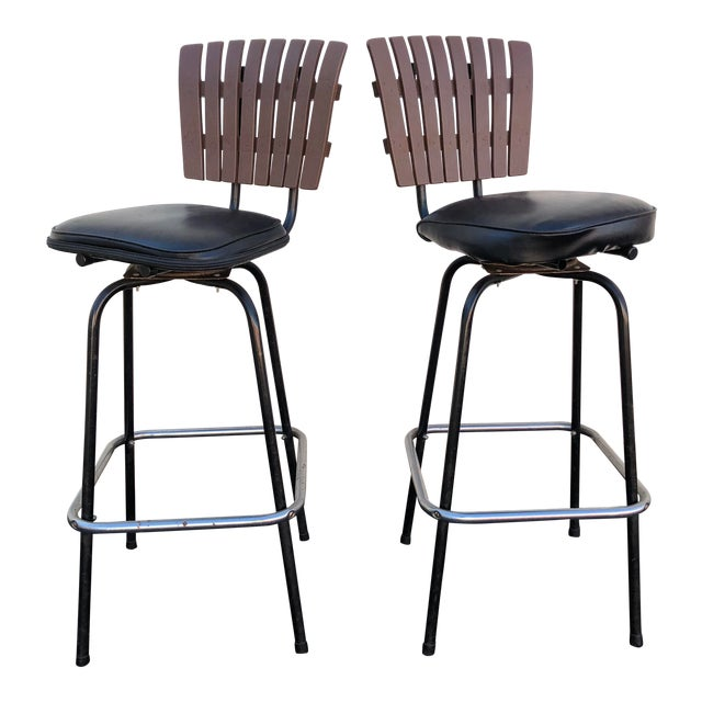 Cool Black Swivel Bar Stools With Faux Wood Seat Backs A Pair Gmtry Best Dining Table And Chair Ideas Images Gmtryco