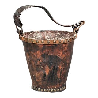 Antique Painted Leather Bucket For Sale