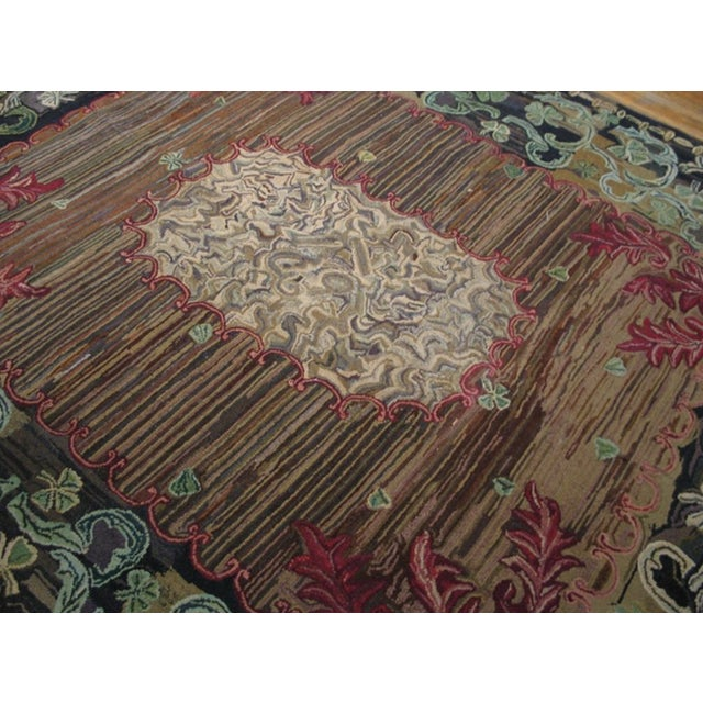 """Late 19th Century Antique American Hooked Rug 8'10' X 10'3"""" For Sale - Image 5 of 6"""