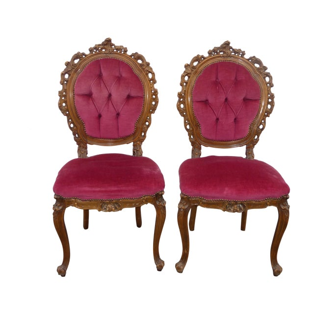 Ornate French Carved Tufted Back Chairs - Pair - Image 1 of 11