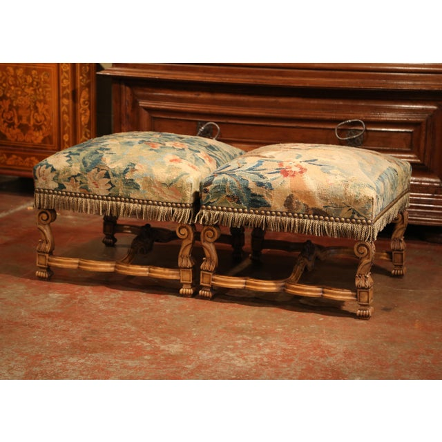 Silk 19th Century French Louis XIV Carved Walnut Aubusson Stools - a Pair For Sale - Image 7 of 9