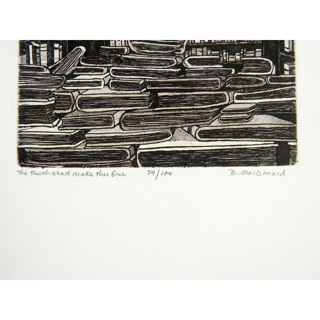 Contemporary Betty McDonald Library & Books Etching For Sale - Image 3 of 4