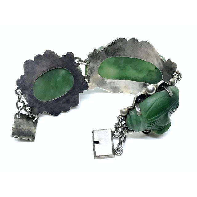 1930s 1930s Sterling Silver and Carved Green Onyx Mask Bracelet For Sale - Image 5 of 6