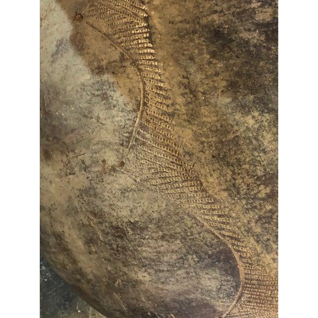 Greige Vintage African Clay Vessel For Sale - Image 8 of 9