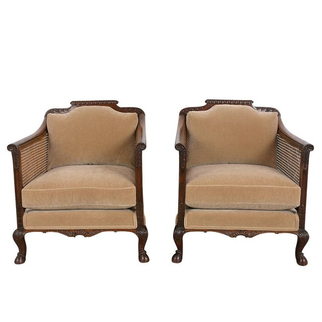 This comfortable pair of 1880's French Louis XIV-Style Armchairs have recently restored and are made out of walnut wood....