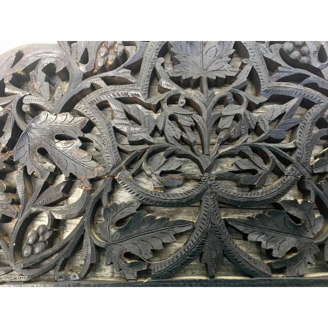 4-Panel East Indian Hand Carved Wood Screen Divider For Sale - Image 11 of 13