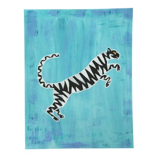Abstract Tiger on Blue by Cleo Plowden For Sale
