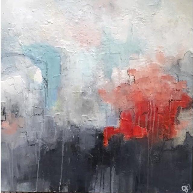 Jordan Johnson Aqua & Coral Abstract I Painting - Image 3 of 5
