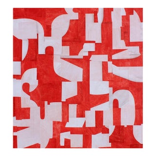"Contemporary Abstract Red & White Acrylic Painting ""PDP746ct14"" by Cecil Touchon For Sale"