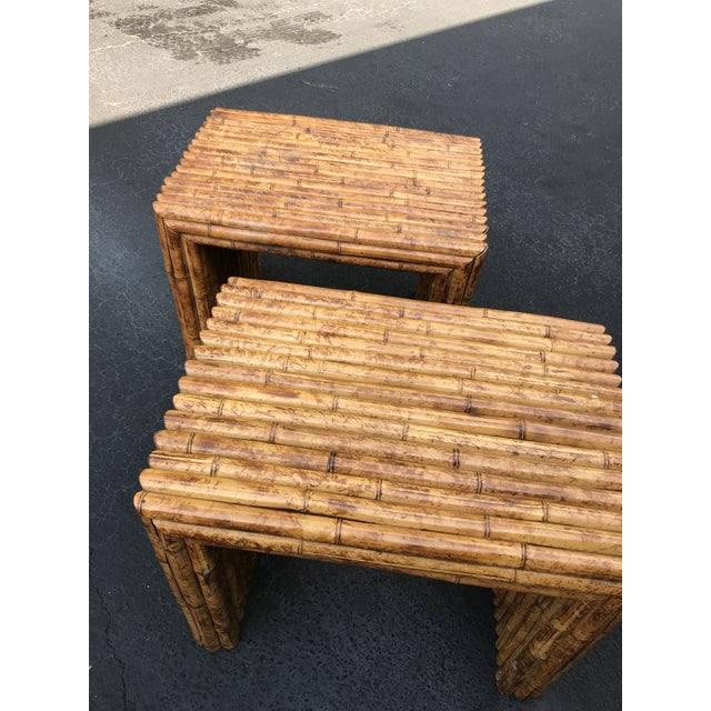 Bamboo Vintage Bamboo End Tables - A Pair For Sale - Image 7 of 8