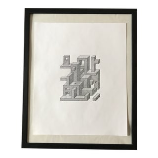 Abstract Prisms Hand Drawn Ink Illustration For Sale