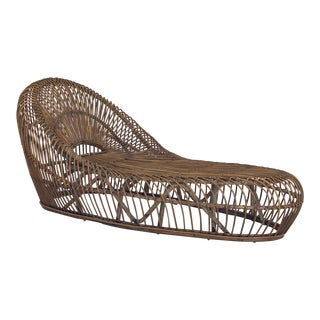 Vintage Franco Albini Bamboo Chaise Lounge For Sale