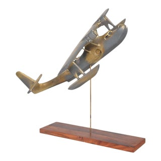 Art Sculpture Wood Airplane Faux Patina in Brass Mid-Century Modern 1950s For Sale