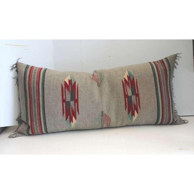 This wonder hand woven Mexican American weaving bolster pillow is in great condition. It has a grey linen backing and...