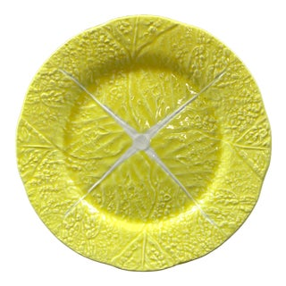 """Mid-Century Secla Yellow Cabbage Ware 13"""" Round Ceramic Platter For Sale"""