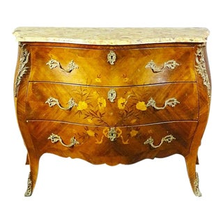 French Breche D' Alep Marble Top Inlaid Walnut Bombe Louis XV Commode Circa 1920 For Sale